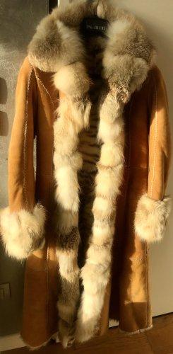 Emilio baldesi Futrzany płaszcz camel-beżowy