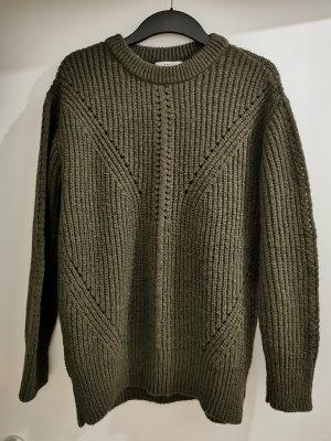 Mango Suit Sweter z grubej dzianiny zielono-szary Poliakryl