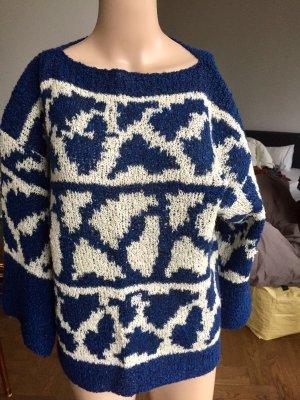 Pull kimono blanc cassé-bleu foncé