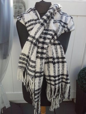 Sjaal met franjes wit-zwart