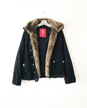 winter / sommer jacke / vintage / esprit / schwarz / fake fur / boho / hippie / kurzparka