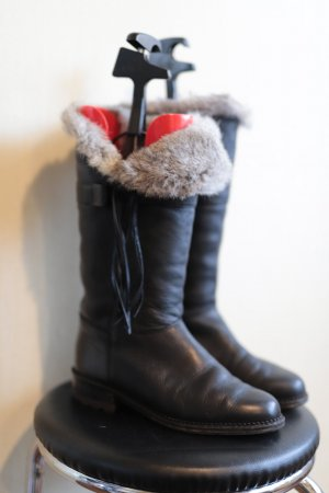 Fur Boots black leather