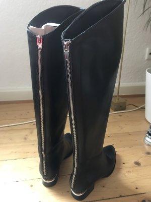 Winter Stiefel Reitstiefel Boots Lederstiefel gr. 38 schwarz black gefuttert