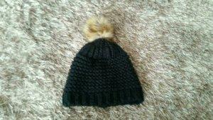 Chapeau en tricot noir-brun