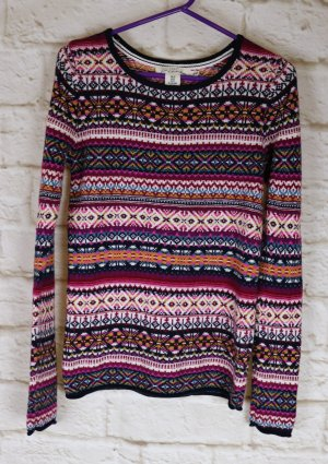Winter Strick Pullover Pulli L.O.G.G. H&M Größe XS 32 34 Norweger Muster Lila Weiß Pink Bunt