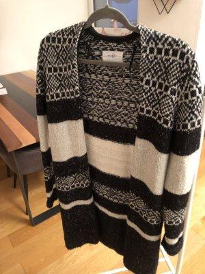 bien bleu Coarse Knitted Jacket white-black