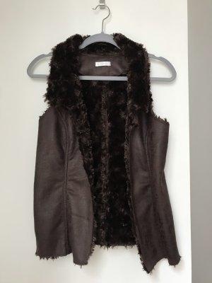 Promod Kamizelka ze sztucznym futrem ciemnobrązowy-czarno-brązowy