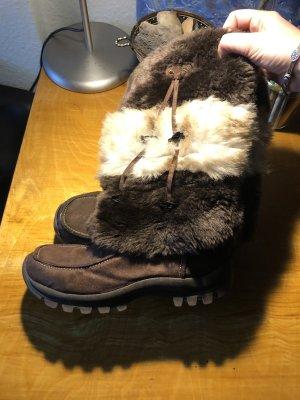 H.I.S Futrzane buty ciemnobrązowy