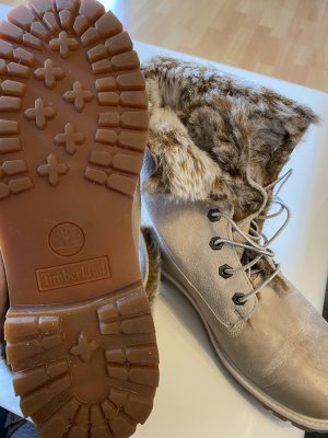 Timberland Fur Boots beige-oatmeal leather