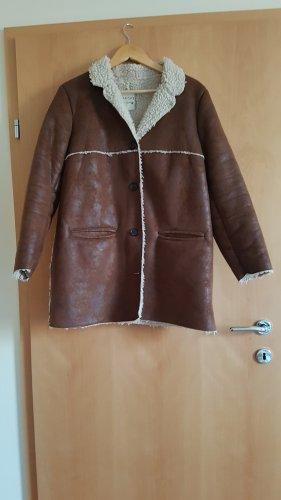 Mango Winter Jacket brown-natural white