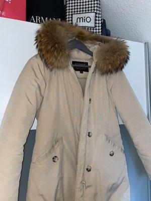 Futrzana kurtka kremowy