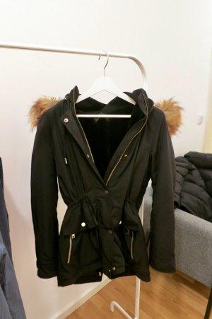 Zara Futrzana kurtka czarny-piaskowy brąz Tkanina z mieszanych włókien