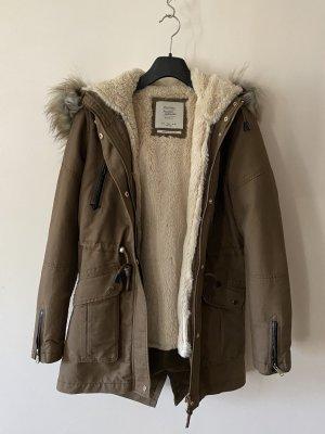 Bershka Podwójna kurtka brąz Tkanina z mieszanych włókien