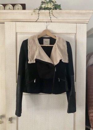 Zara Giacca da motociclista nero-crema Tessuto misto