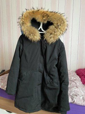 Futrzana kurtka czarny-brąz