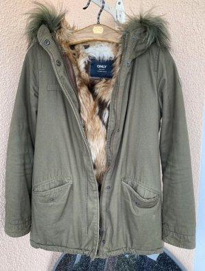 Winterjacke mit Lederapplikationen und Fell mehrfarbig gefüttert Khaki braun weiß Only S 36