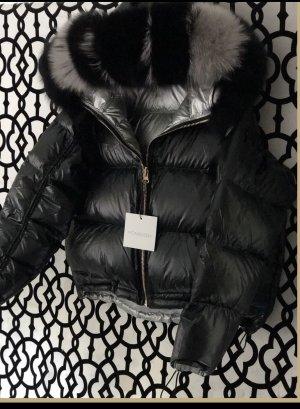 Chaqueta holgada negro-color plata