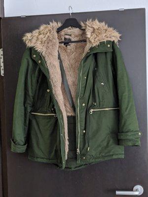 Zara Giacca in pelliccia verde scuro