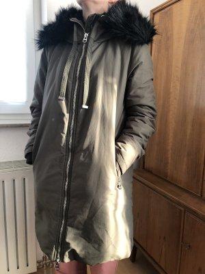 Zara Kurtka zimowa khaki-czarny