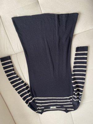 Aigle Sukienka z długim rękawem w kolorze białej wełny-ciemnoniebieski