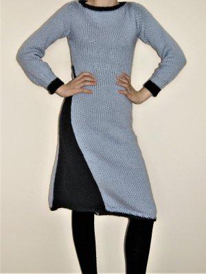 Vestido de lana gris claro-negro