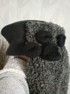 Wollen hoed zwart-donkergrijs Wol