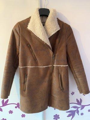 Mango Manteau en cuir chameau-brun