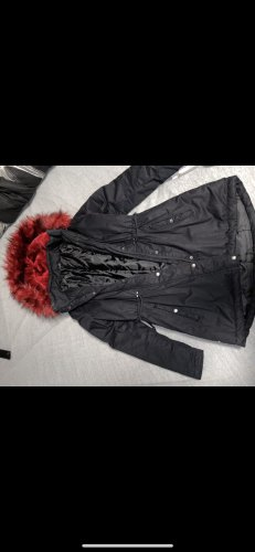 Takko Fashion Płaszcz z kapturem czarny-czerwony