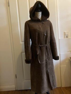 Manteau en cuir brun