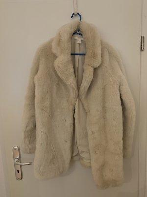 H&M Płaszcz ze sztucznym futrem kremowy-jasnobeżowy