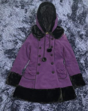 Hell Bunny Winter Jacket black-dark violet polyester