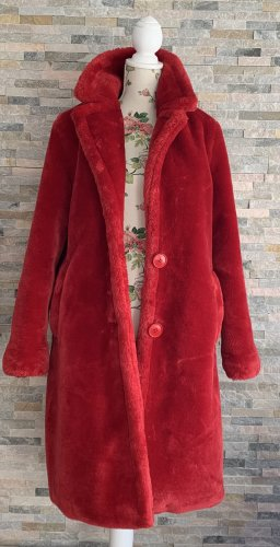 STAND STUDIO Cappotto in eco pelliccia rosso scuro