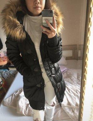 Płaszcz puchowy czarny-jasnobrązowy