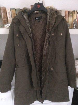 Mango Płaszcz zimowy khaki
