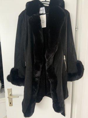 Lamina's Fashion Jas van imitatiebont zwart