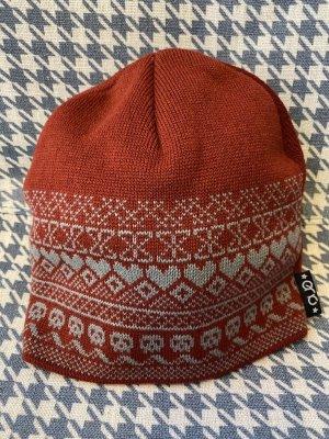 Cappello da panettiere rosso scuro-azzurro Tessuto misto