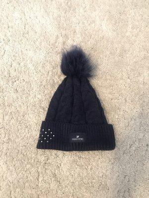 Swarovski Sombrero de punto azul oscuro