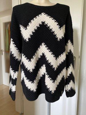 Samtherz Veste tricotée en grosses mailles noir-blanc velours côtelé