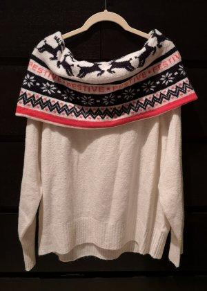 Winterpullover schulterfrei Carmenausschnitt M wollweiß Creme H&M Weihnachtspullover Strickpullover