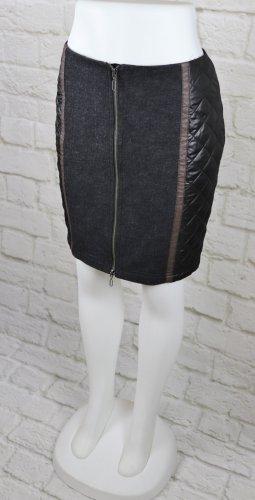 Winterrock Materialmix Rock Kapalua Größe 36 38 Schwarz Grau Khaki Minirock Stepp Wolle Reißverschluss