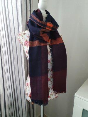 keine Marke Gebreide sjaal roodbruin-donkerblauw
