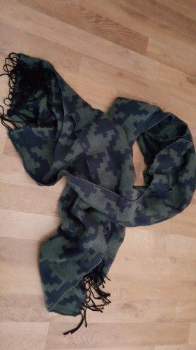 Vero Moda Bufanda de flecos azul oscuro-verde oscuro