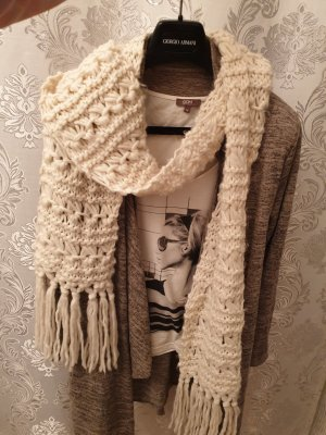 Orsay Crochet Scarf natural white