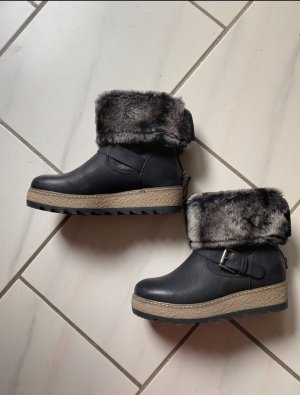 Bottine d'hiver noir cuir