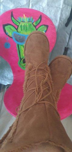 Futrzane buty brązowy Tkanina z mieszanych włókien
