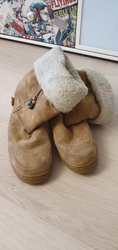 Botas de invierno marrón arena tejido mezclado