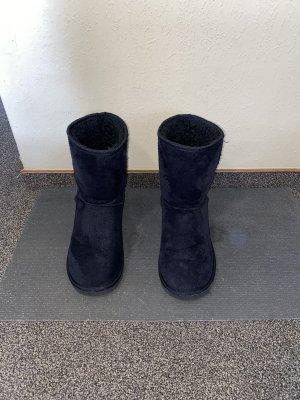 Forever 18 Futrzane buty czarny-ciemnoniebieski