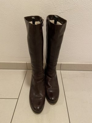 Caprice Fur Boots dark brown