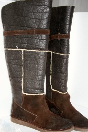 Wide Calf Boots brown imitation leather