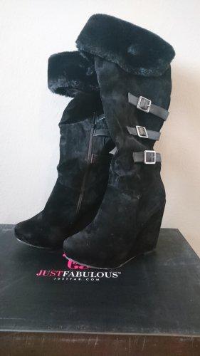 Just Fab Futrzane buty czarny